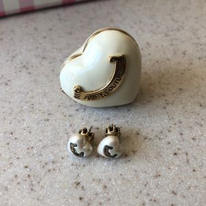 Gold & Off White Juicy Couture Earrings w/ Case